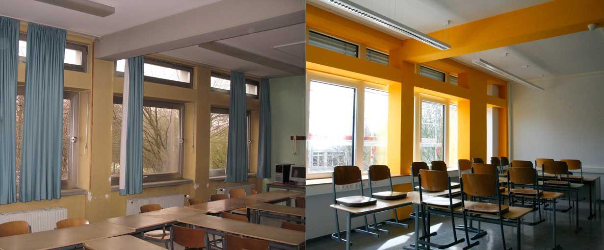 Klassenräume vorher und nach der Sanierung